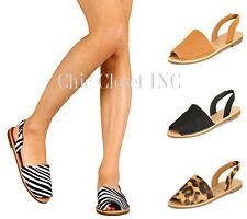 Women Lady Causal Flat Low Heel Open Toe Slingbacks Leopard Sandals NEW Shoes