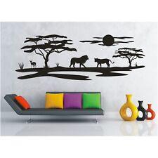 Landschaft Wandtattoo  Löwen Afrika Savanne Sonne Löwe Safari Wandaufkleber