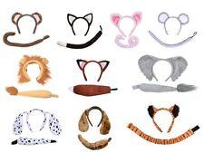 ANIMAL EARS & TAIL SET FANCY DRESS HEADBAND MONKEY DOG PIG MOUSE FOX LION TIGER