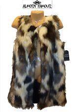 NWT Sz S/M /L /XL Almost Famous Grey Black Animal Print Faux Fur Long Lined Vest