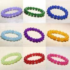 "Hot 6mm 8mm 10mm 12mm Multicolor Gemstones Round Beads Bangle Bracelet 7.5"" AAA+"
