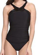 MIRACLESUIT Magicsuit Bonnie Black Leather Trim High Neck 1pc Swimsuit Womens 16
