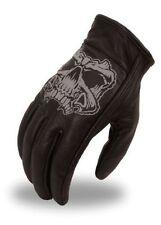 Mens Short Leather Motorcycle Gloves - Reflective Skull - Biker - First MFG