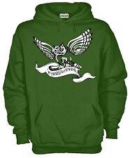 Felpa Con Cappuccio KJ1147 Gufo Celtico Fairylands Owl Celtic Cross