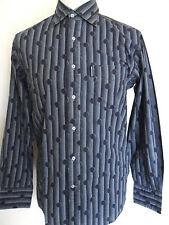 Lambretta Mangas Largas Camisa Para Hombres Azul Marino De Algodón Tallas S M XXL Retro de Impresión