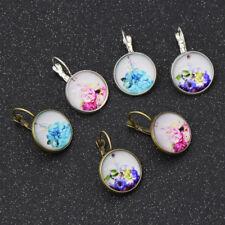 Glass Cabochon Flower Earrings Women Lady Ear Clip Elegent Jewelry Bronze Silver