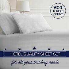 5 Star Hotel Quality 2CM White Stripe Luxury Flat,Fitted Sheet+Pillowcase Set