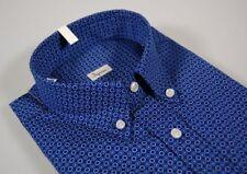 Camicia Ingram Button Down con taschino puro cotone blu a fantasia Regular Fit