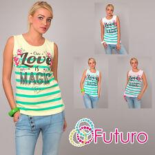 Ladies Vest Top MAGIC Print Sleeveless 100% Cotton T-Shirt Tunic Sizes 8-14 FB57