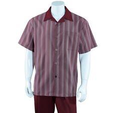 Men's 2 Piece Walking Suit Stripes Casual Shirt w/ Solid Pants Set #2966