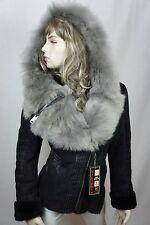 Women 100% Real Shearling Suede Leather Sheepskin Toscana Hood Jacket Coat S-5XL