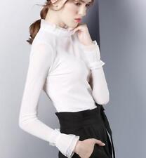 Womens Chiffon Slim Thin Tops Casual Blouse Bell Sleeve British Plus Sz Fashion