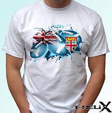 Fiji Rugby Bandera-Blanco T camisa Top Camiseta De Fútbol De Diseño Para Hombre, los niños tamaños