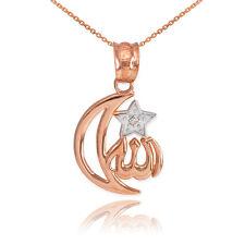 10k Rose Gold Diamond Crescent Moon Allah Pendant Necklace