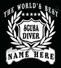 Scuba Diver Camiseta personalizado añadir nombre Gran Regalo Bespoke Aqua Deep Sea Diver