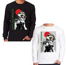 Velocitee da uomo a maniche lunghe T Shirt lotta per la libertà dell'esercito militare TESCHIO v72