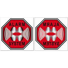 Set Alarm System Aufkleber 5cm rot Sticker Glas Innen kleben beide Seiten lesbar
