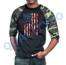 Men's American Flag Camo Black Baseball Raglan T Shirt Us Usa Army Military Tee