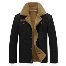 Men's Sherpa Trucker Jacket Winter Thermal Collared Fleece Fur Lining Top Coat B