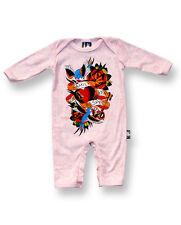 Seis Conejitos Rosa Tattoo Flash familia Forever bebé crezca un pieza Mameluco Mono corto