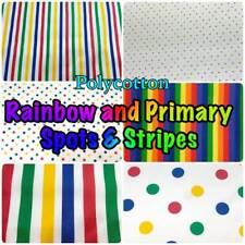 PolyCotton Rainbow Stripes & Spots Light Dressmaking + Craft Fabric (per Metre)
