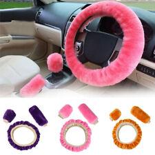 Interior Long Plush Steering Wheel Cover Handbrake Case Woolen Car Soft Wool