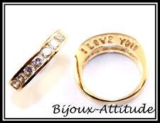 Bague mixte I LOVE YOU plaqué or 18K diamants cz T55/56