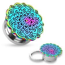PAIR Rainbow Tribal Flower Top Design Steel Screw Fit Tunnels Plugs Body Jewelry