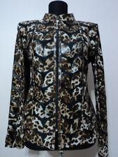 Brown Leopard Pattern Woman Leather Jacket Women Coat Zipper Short All Size D1