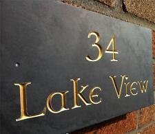 large engraved  v carved slate house sign name number plaque