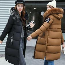 Hot Women winter coat Down jacket Ladies fur hooded jackets Long puffer parka UK