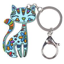 BONSNY Cat Jewellery Large Pendant Keyring Keychain bag charm Animal Pet Tag