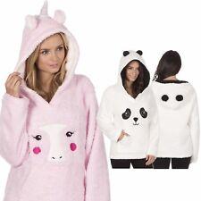 Ladies Snuggle Fleece Hooded Pyjama Unicorn Panda Lounge Top Bed Jacket S-XL