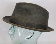 STETSON PLAYER Pork Pie Hut Trilby Hat used look braun Leder Optik NEU 1321106
