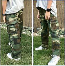 Boys Girls Kids Teens Paratrooper Fatigue Scout Camp Cargo Pants - Woodland Camo