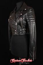 Ladies VOGUE Black CROPPED Designer Biker Style Real Lambskin Leather Jacket