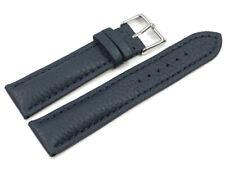 Bracelet montre bleu foncé cuir cerf rembourré très souple - 18,20,22,24 mm NEUF