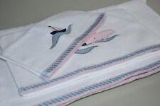 NEW Pottery Barn Kids 3 PC Whale Applique BATH HAND WASHCLOTH Towels White Blush