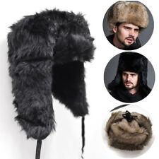 Winter Men's Hats Raccoon Imitation Leather Russian Ushanka Cossack Trapper Cap