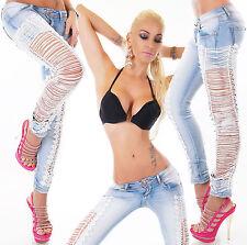 Women's Slim Skinny Side Lace Stretch Denim Jeans - XS / S / M / L / XL
