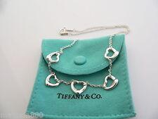 Tiffany & Co Silver Peretti 5 Five Open Heart Pendant Necklace Charm Chain Rare