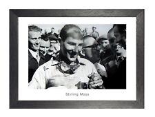 Stirling Moss Victory Winning Black White Motivational Poster Formula One Quote Kunstplakate