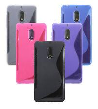 Silikon hülle Cover Handyschale Tasche Bumper für NOKIA 6 + Displayfolie