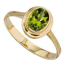 Anillo Mujer AUS 585 oro Amarillo Con Peridot Verde, Joyería para el dedo de
