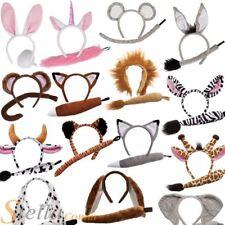 Animal Ears Headband & Tail Safari Fancy Dress Costume Set Girls Boys Outfit