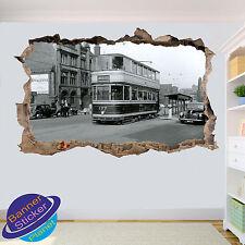 Vintage tranvías en Sheffield 3D se estrelló Pared Adhesivo Calcomanía Mural Decoración De Habitación