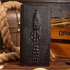 Men's Genuine Leather Long Wallet Fashion Crocodile Pattern Clutch Bifold Purse
