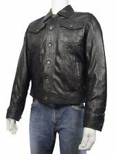 Nouveau Hommes Noir Napa classique Vachette Mode Motard Veste en cuir rock Denim Style
