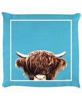 Inquisitive Creatures Cushion Highland Cow Sky Blue 40x40cm