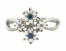 0.4Ct Round Blue Sapphire Diamond Cluster Flower Wedding Band 10K Gold